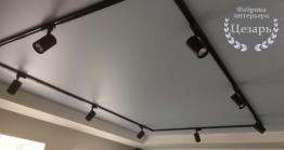 Сатиновый натяжной потолок с трековым освещением в Хабаровске