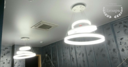 Матовый натяжной потолок со встроенным освещением в Хабаровске